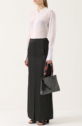 Юбка-макси с эластичным поясом и накладными карманами Ilaria Nistri черная | Фото №1