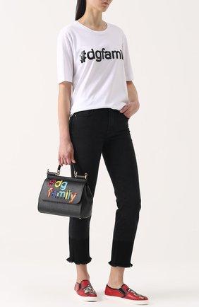 Хлопковая футболка прямого кроя с контрастной вышивкой пайетками Dolce & Gabbana белая | Фото №2