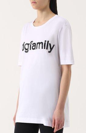 Хлопковая футболка прямого кроя с контрастной вышивкой пайетками Dolce & Gabbana белая | Фото №3