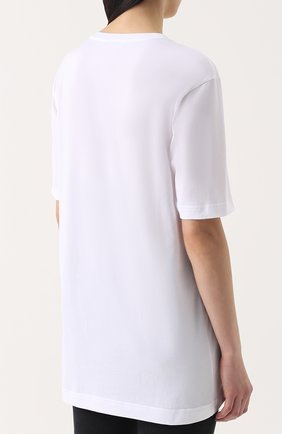 Хлопковая футболка прямого кроя с контрастной вышивкой пайетками Dolce & Gabbana белая | Фото №4