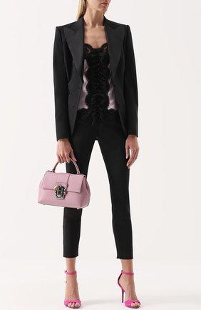 Шелковый топ с контрастной кружевной отделкой Dolce & Gabbana светло-розовый   Фото №2