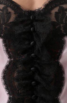Шелковый топ с контрастной кружевной отделкой Dolce & Gabbana светло-розовый   Фото №5