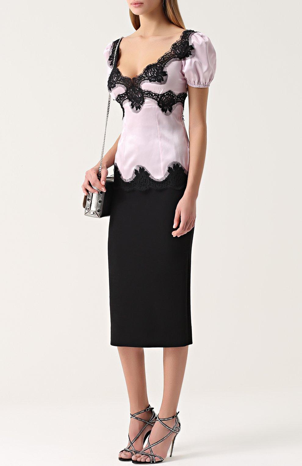 Шелковый приталенный топ с контрастной кружевной отделкой Dolce & Gabbana лиловый | Фото №2