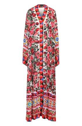 Шелковая абайя с контрастным ярким принтом Dolce & Gabbana разноцветное | Фото №1