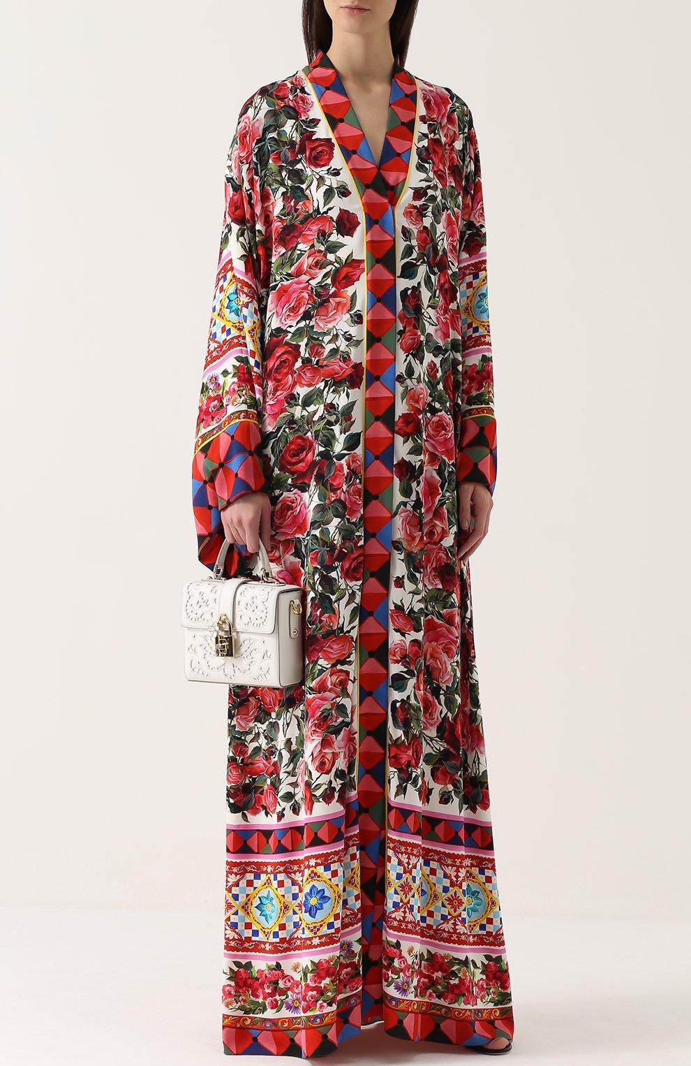 Шелковая абайя с контрастным ярким принтом Dolce & Gabbana разноцветное | Фото №2