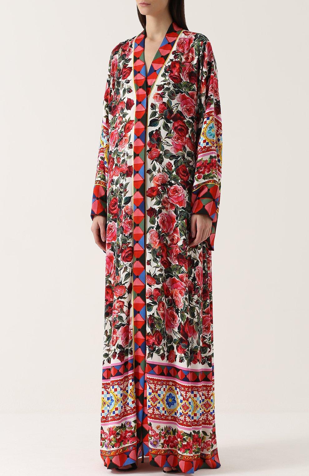 Шелковая абайя с контрастным ярким принтом Dolce & Gabbana разноцветное | Фото №3