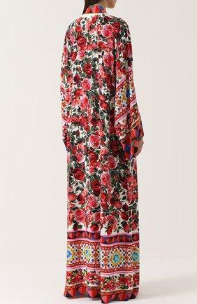 Шелковая абайя с контрастным ярким принтом Dolce & Gabbana разноцветное | Фото №4