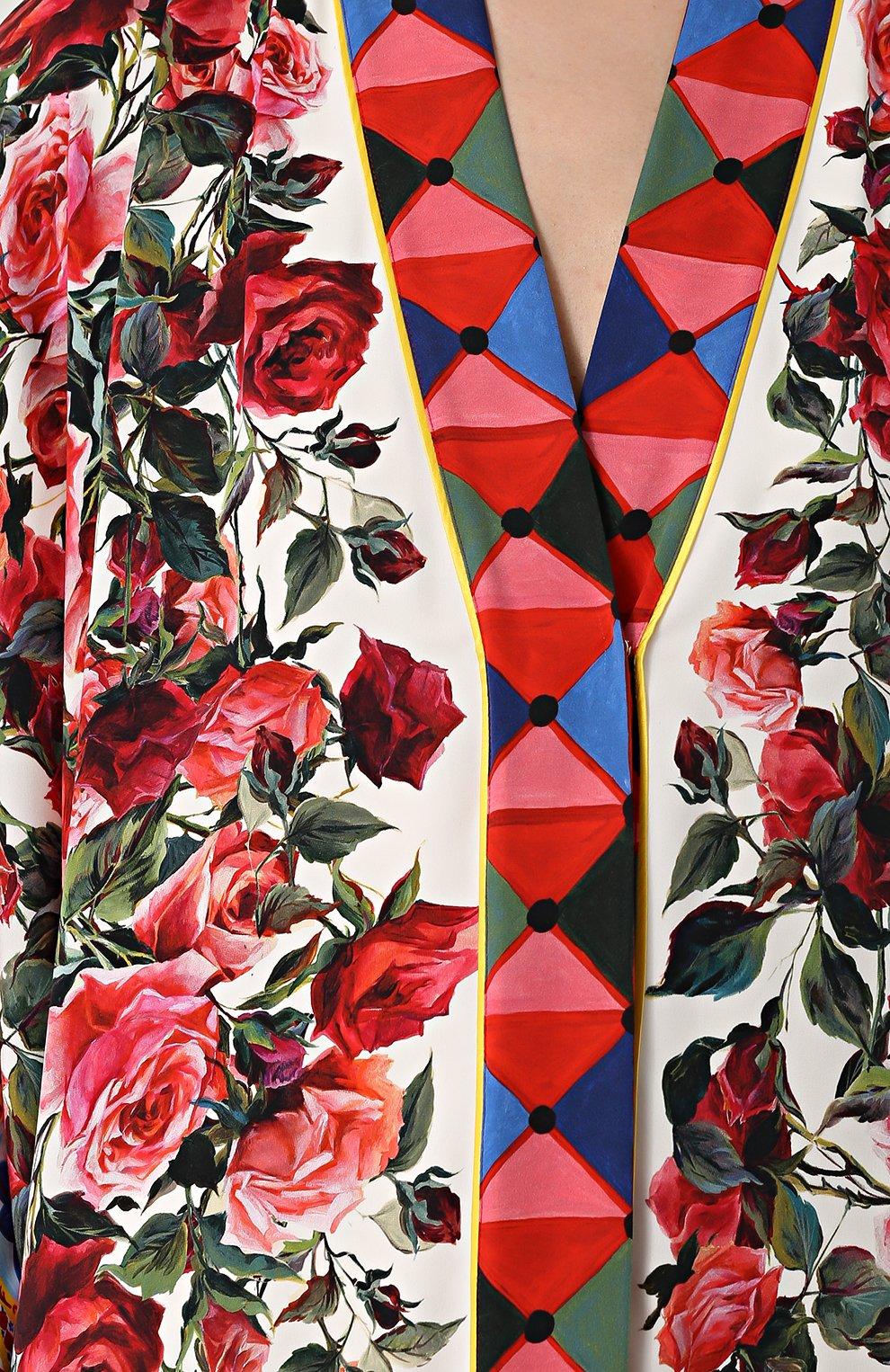 Шелковая абайя с контрастным ярким принтом Dolce & Gabbana разноцветное | Фото №5