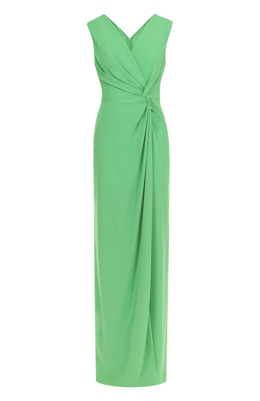 ebb8e662297 Женское зеленое платье-макси с драпировкой и высоким разрезом ESCADA ...