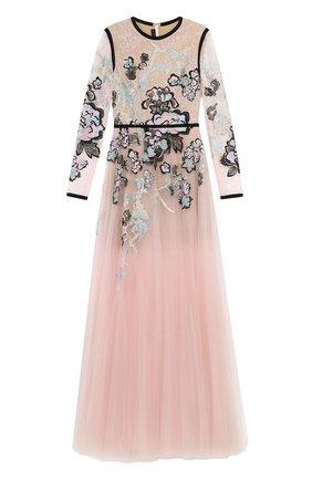 Приталенное платье-макси с декоративной отделкой Elie Saab разноцветное | Фото №1