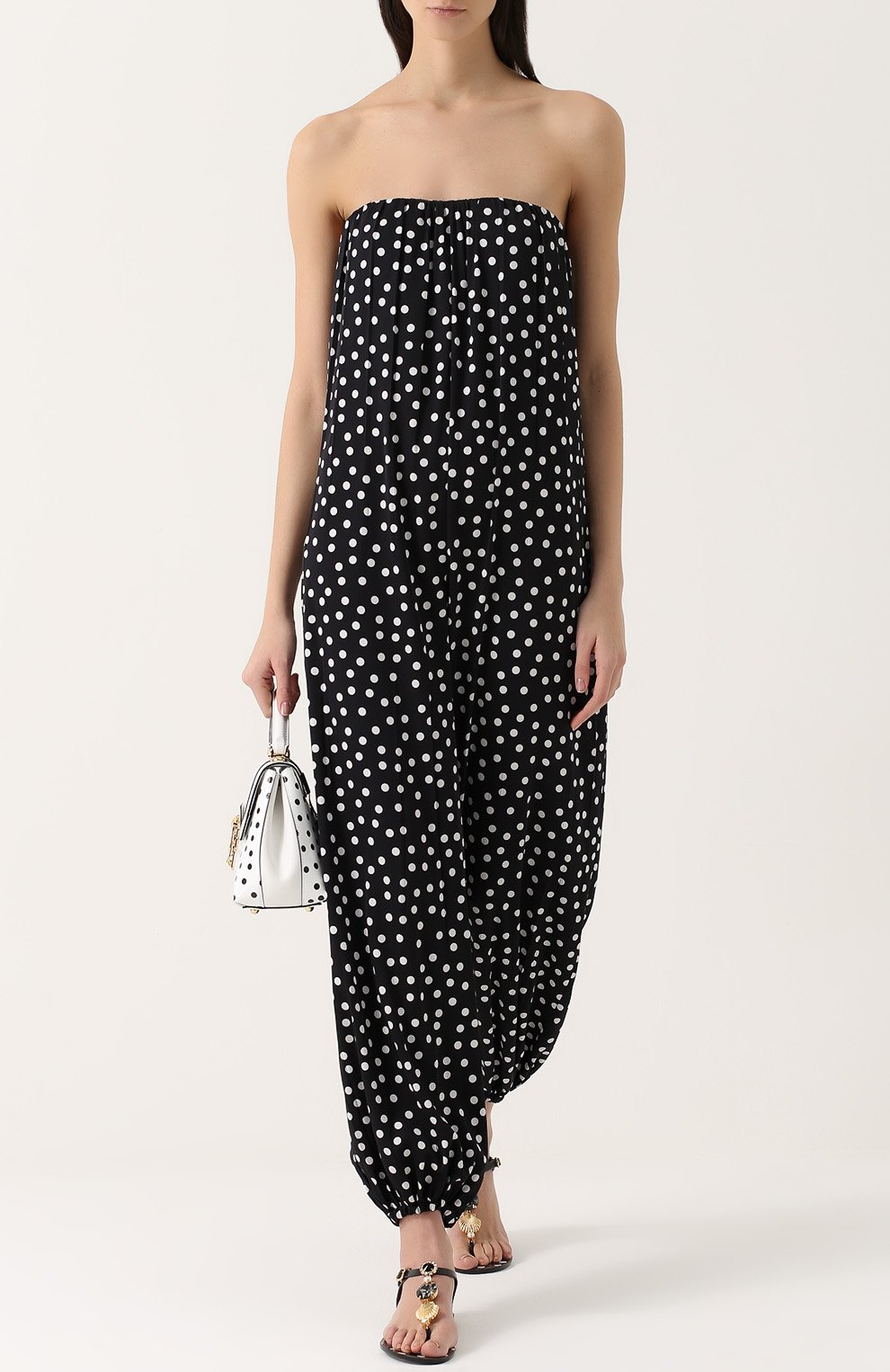 Шелковый комбинезон-бюстье в горох Dolce & Gabbana черно-белый | Фото №2