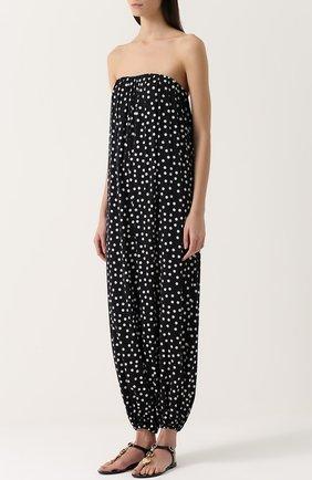 Шелковый комбинезон-бюстье в горох Dolce & Gabbana черно-белый | Фото №3