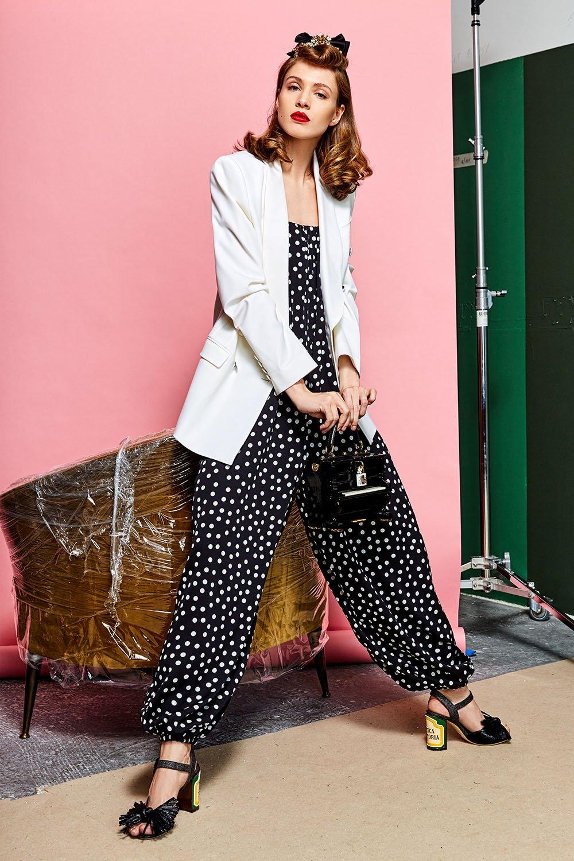 Шелковый комбинезон-бюстье в горох Dolce & Gabbana черно-белый | Фото №6