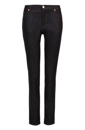 Женские джинсы прямого кроя с контрастной прострочкой и декоративными шипами VALENTINO темно-синего цвета, арт. MB3DD03L/2HN | Фото 1