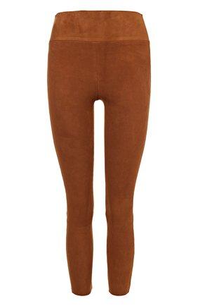 Укороченные замшевые брюки-скинни с завышенной талией | Фото №1