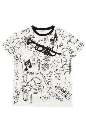 Детская футболка из хлопка с принтом Dolce & Gabbana черно-белого цвета   Фото №1