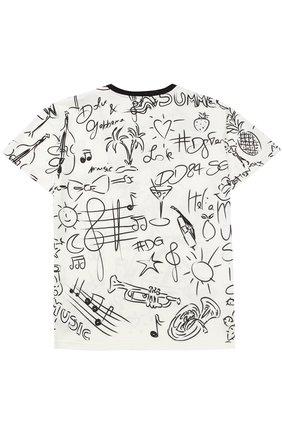 Детская футболка из хлопка с принтом Dolce & Gabbana черно-белого цвета   Фото №2