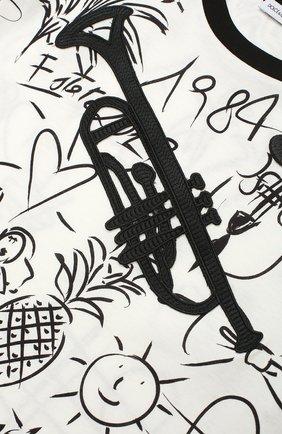 Детская футболка из хлопка с принтом Dolce & Gabbana черно-белого цвета   Фото №3