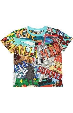 Детская футболка джерси с принтом Dolce & Gabbana разноцветного цвета | Фото №1