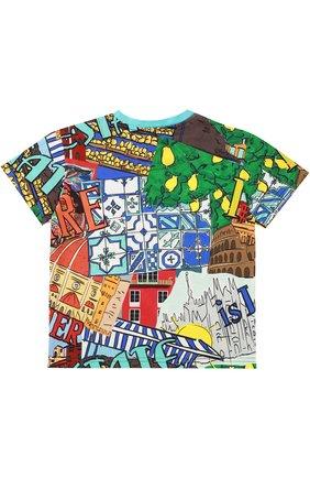 Детская футболка джерси с принтом Dolce & Gabbana разноцветного цвета | Фото №2