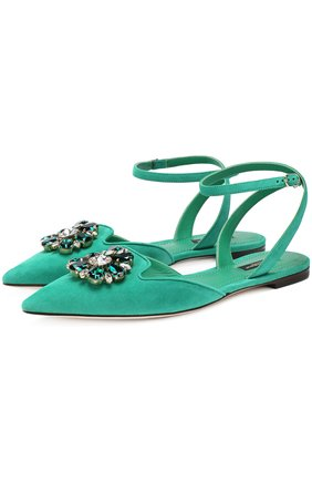Замшевые балетки Bellucci с брошью Dolce & Gabbana зеленые | Фото №1