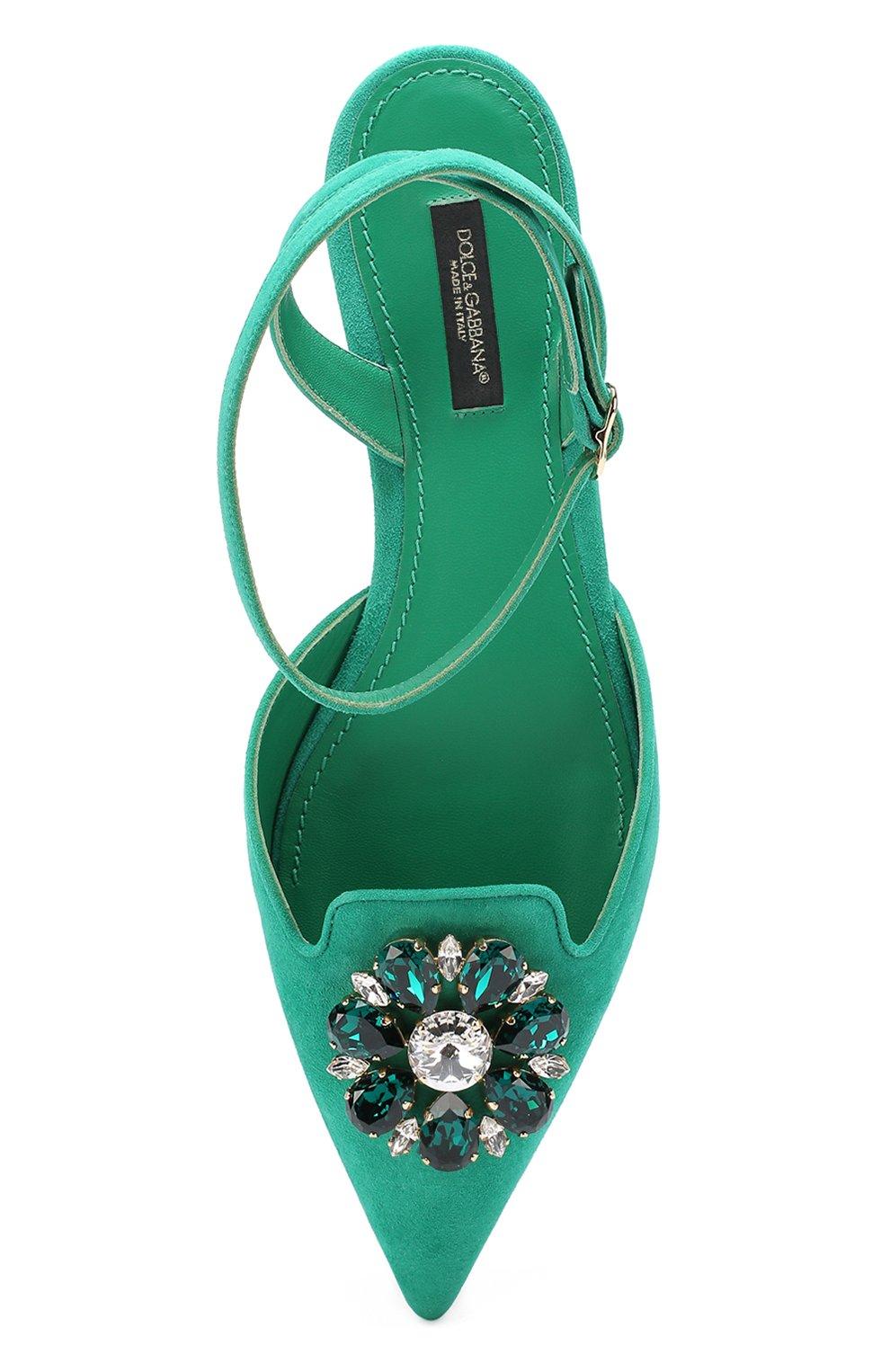 Замшевые балетки Bellucci с брошью Dolce & Gabbana зеленые | Фото №5