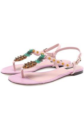 Замшевые сандалии с аппликацией и заклепками Dolce & Gabbana светло-розовые   Фото №1