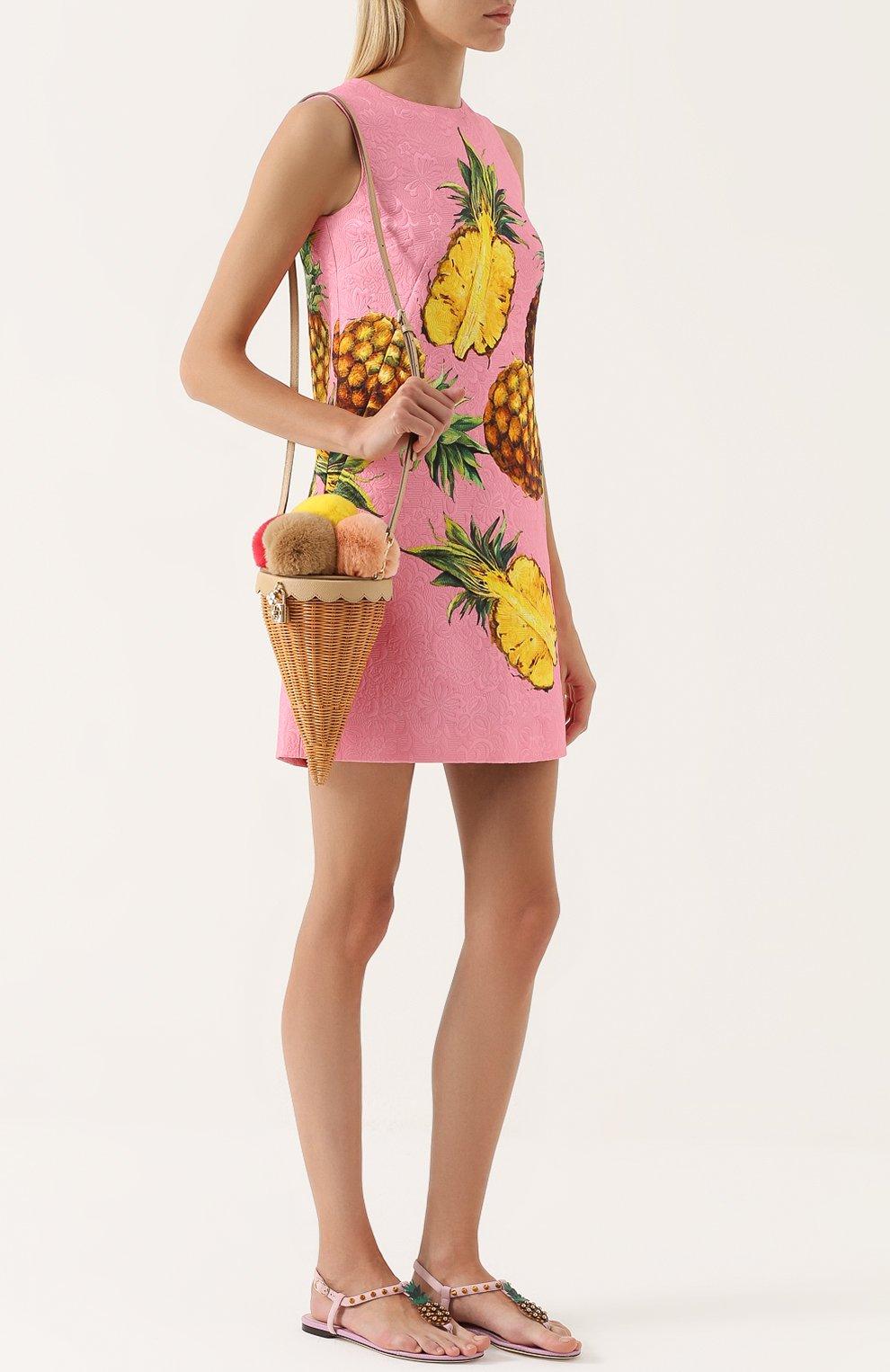 Замшевые сандалии с аппликацией и заклепками Dolce & Gabbana светло-розовые   Фото №2