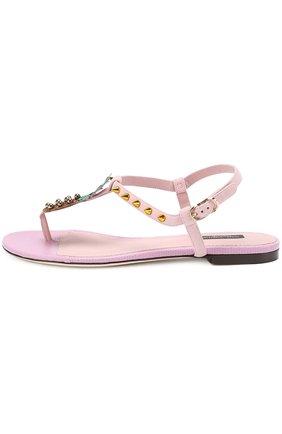 Замшевые сандалии с аппликацией и заклепками Dolce & Gabbana светло-розовые   Фото №3