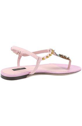 Замшевые сандалии с аппликацией и заклепками Dolce & Gabbana светло-розовые   Фото №4