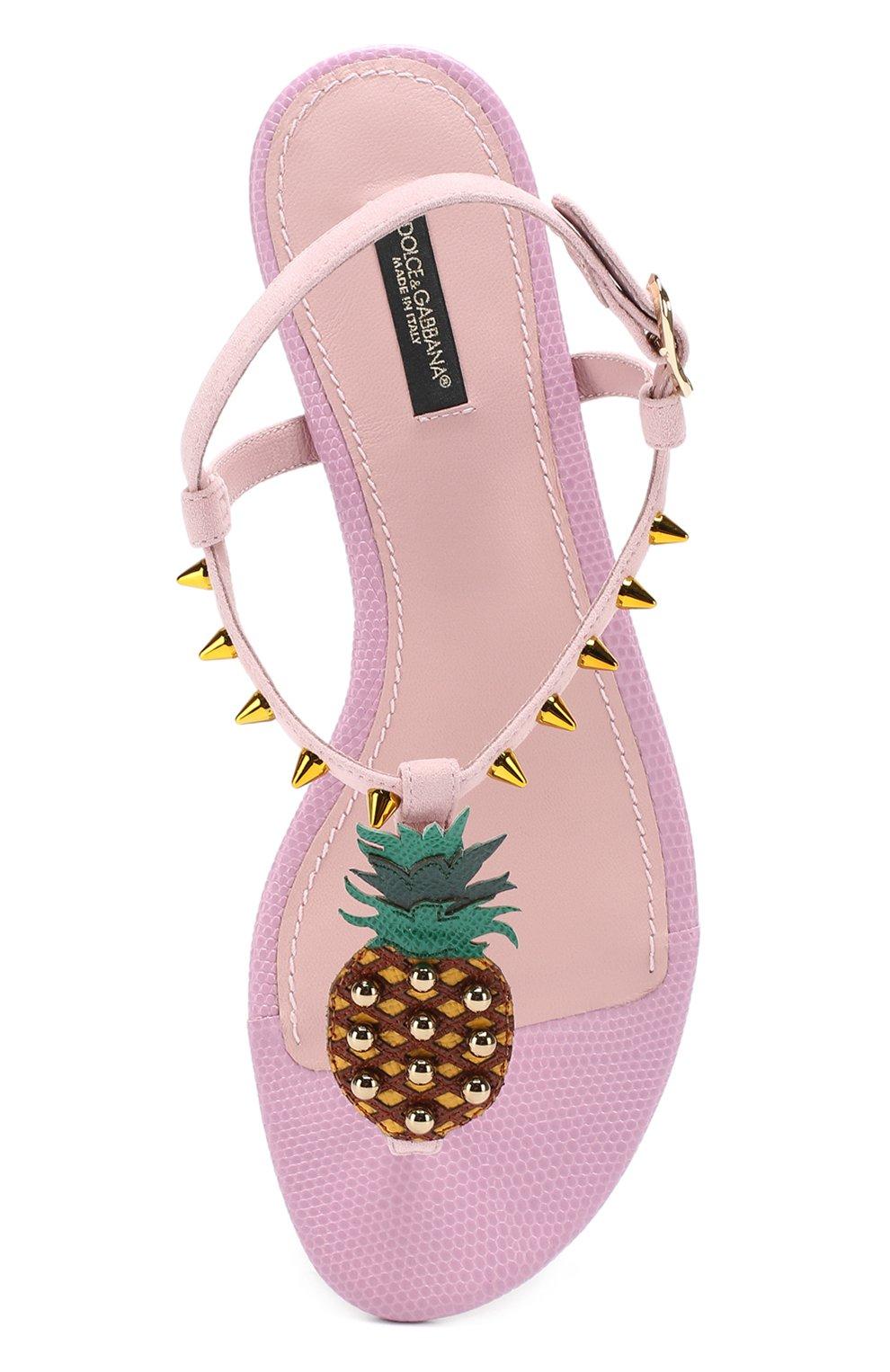 Замшевые сандалии с аппликацией и заклепками Dolce & Gabbana светло-розовые   Фото №5