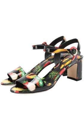Комбинированные босоножки с принтом на устойчивом каблуке Dolce & Gabbana черные | Фото №1