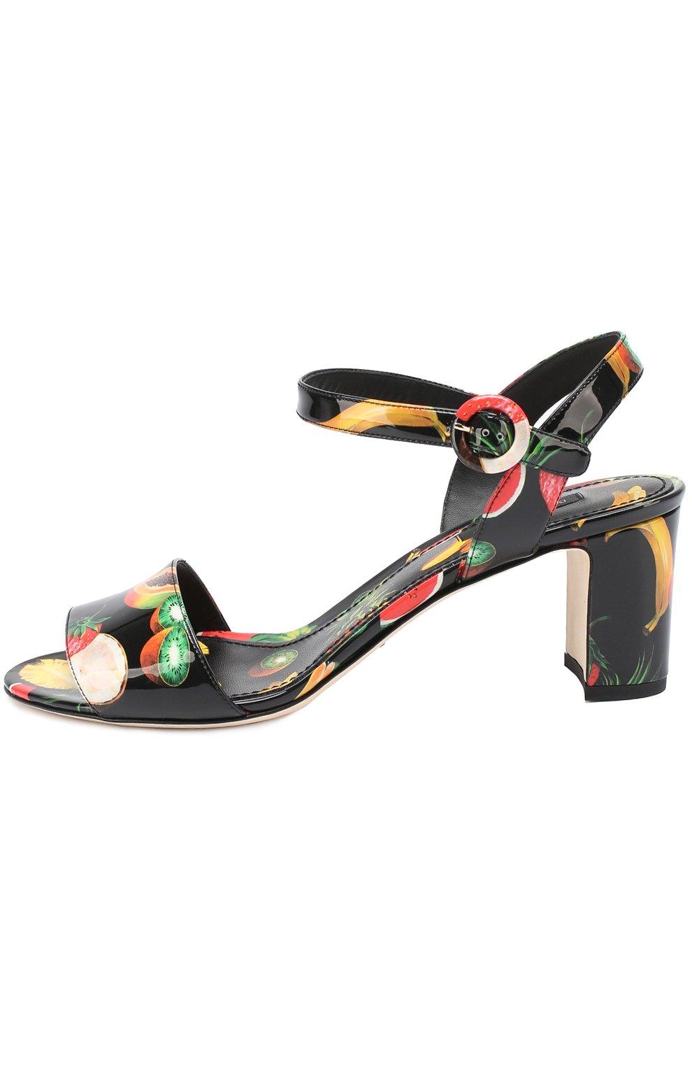 Комбинированные босоножки с принтом на устойчивом каблуке Dolce & Gabbana черные | Фото №3