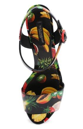 Комбинированные босоножки с принтом на устойчивом каблуке Dolce & Gabbana черные | Фото №5