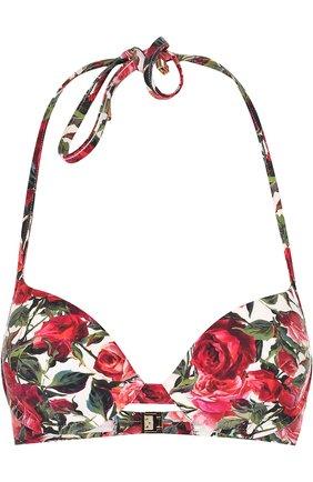 Бра с цветочным принтом Dolce & Gabbana розовый | Фото №1