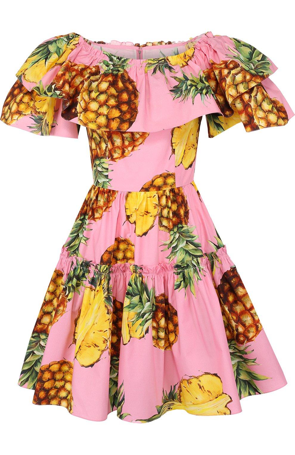 Приталенное мини-платье с оборками и ярким принтом | Фото №1