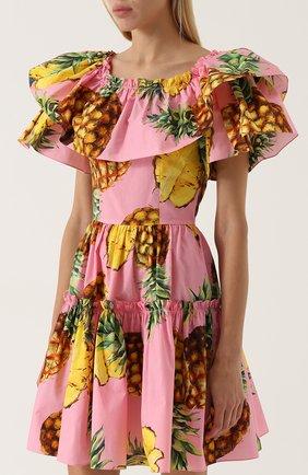 Приталенное мини-платье с оборками и ярким принтом | Фото №3