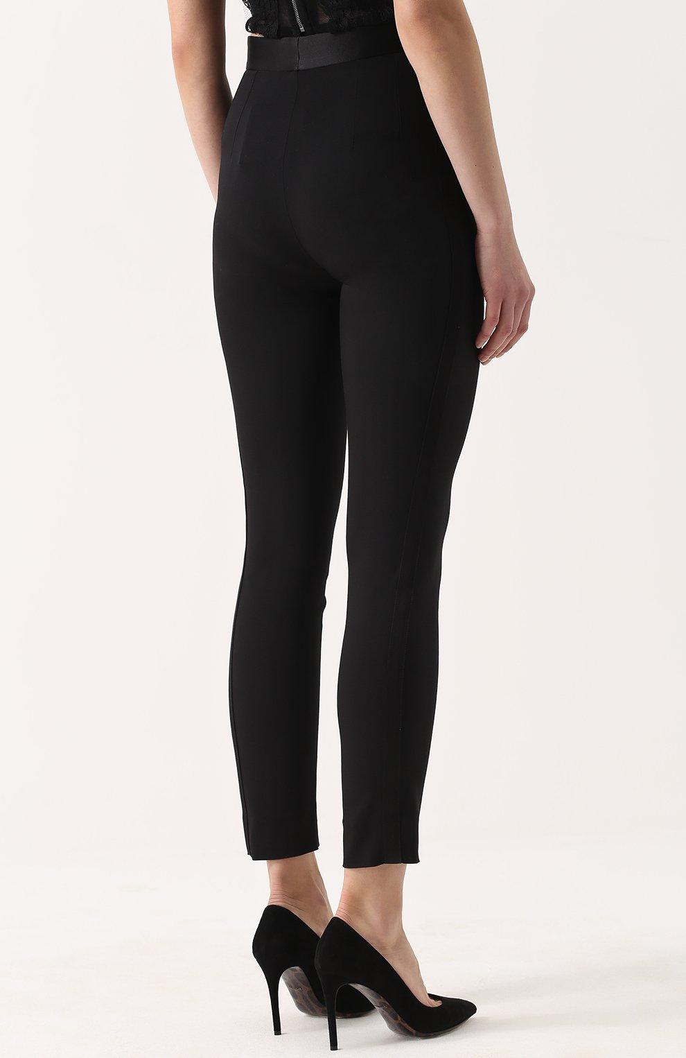 Укороченные брюки-скинни с завышенной талией Dolce & Gabbana черные   Фото №4