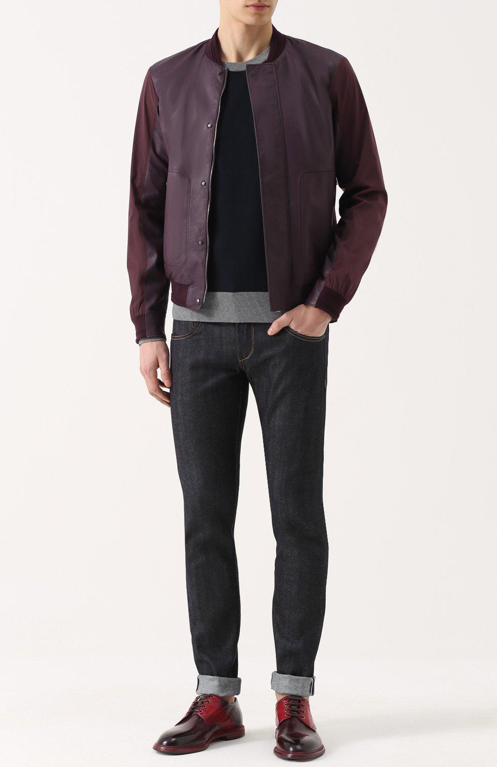 Хлопковый джемпер с вышивкой и контрастной отделкой Dolce & Gabbana темно-синий | Фото №2