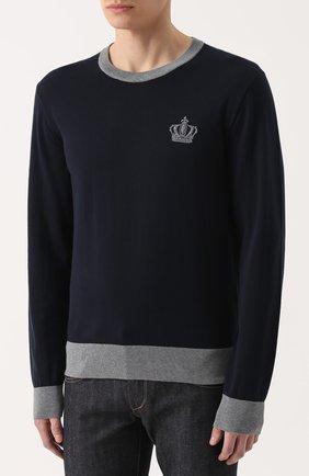 Хлопковый джемпер с вышивкой и контрастной отделкой Dolce & Gabbana темно-синий | Фото №3