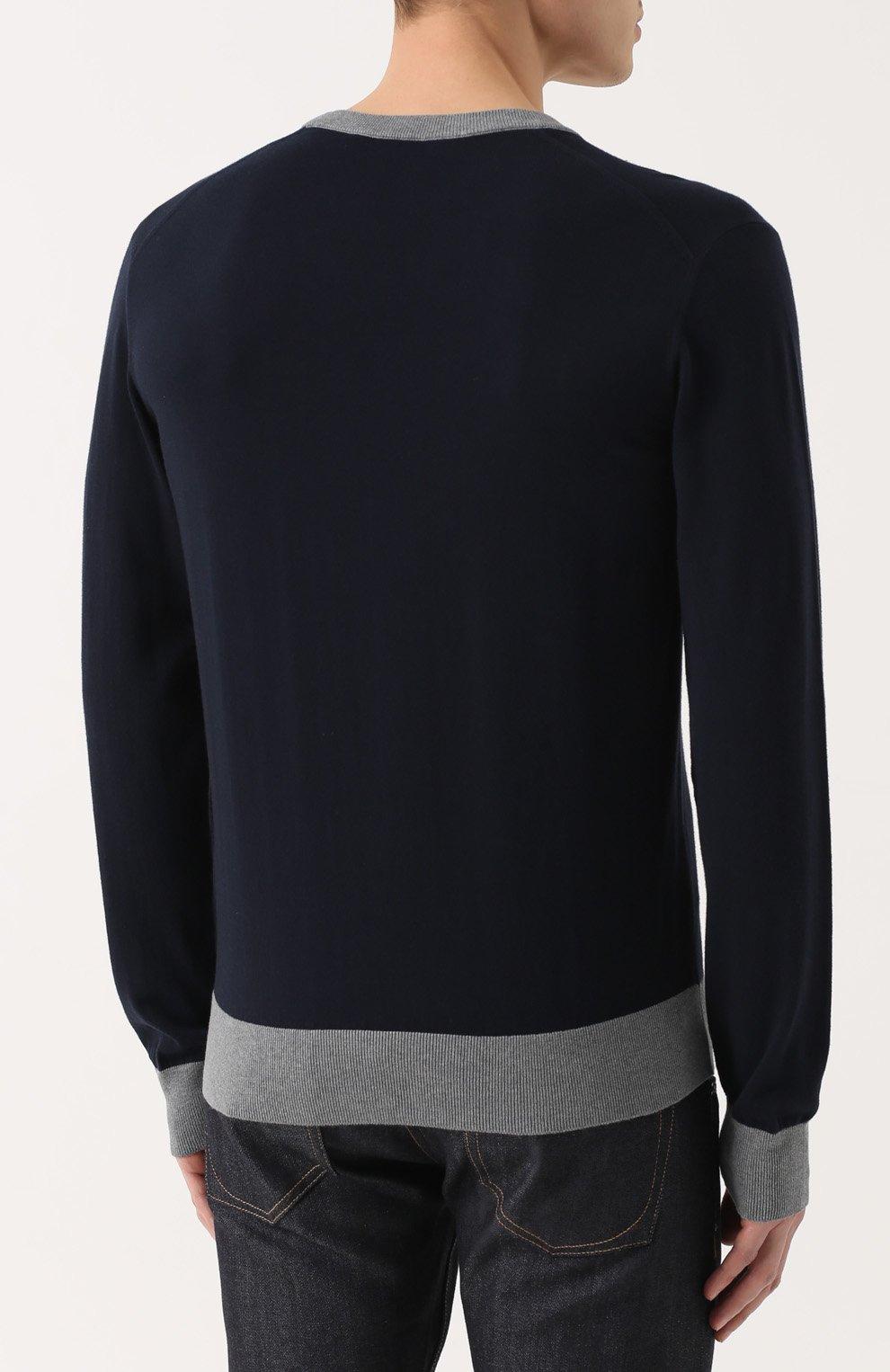 Хлопковый джемпер с вышивкой и контрастной отделкой Dolce & Gabbana темно-синий | Фото №4