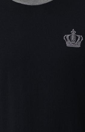 Хлопковый джемпер с вышивкой и контрастной отделкой Dolce & Gabbana темно-синий | Фото №5