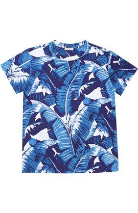 Детская футболка джерси с принтом Dolce & Gabbana голубого цвета   Фото №1