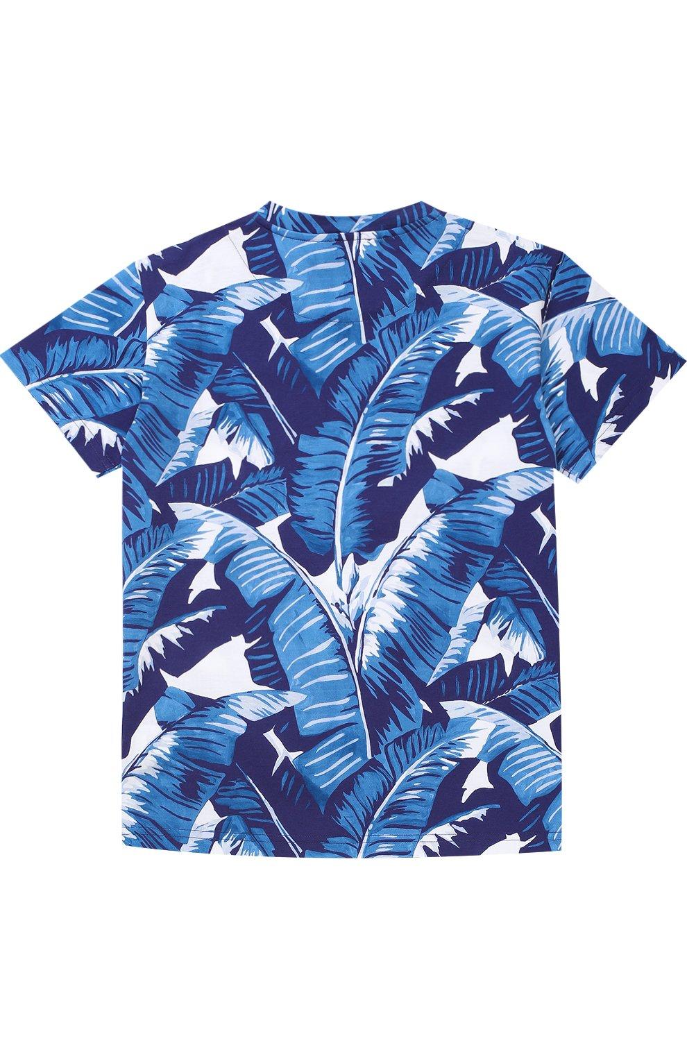 Детская футболка джерси с принтом Dolce & Gabbana голубого цвета   Фото №2