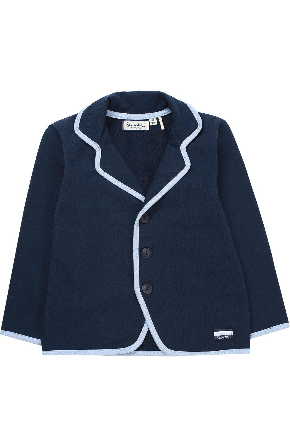 Детский пиджак джерси с контрастной окантовкой SANETTA FIFTYSEVEN синего цвета, арт. 901379   Фото 1