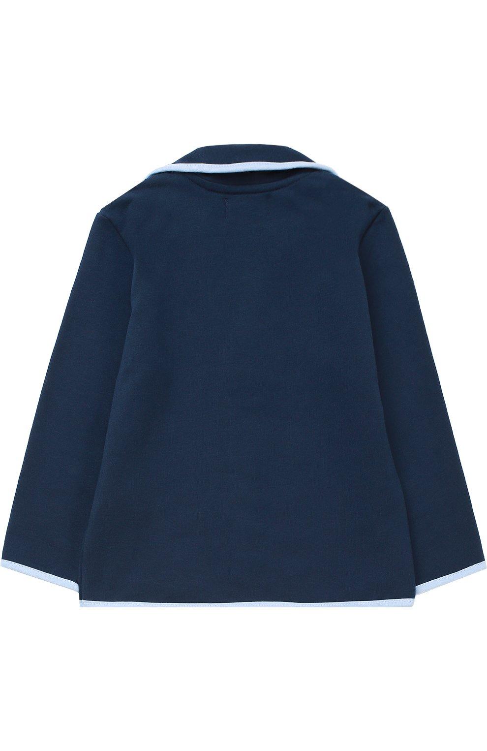 Детский пиджак джерси с контрастной окантовкой SANETTA FIFTYSEVEN синего цвета, арт. 901379   Фото 2