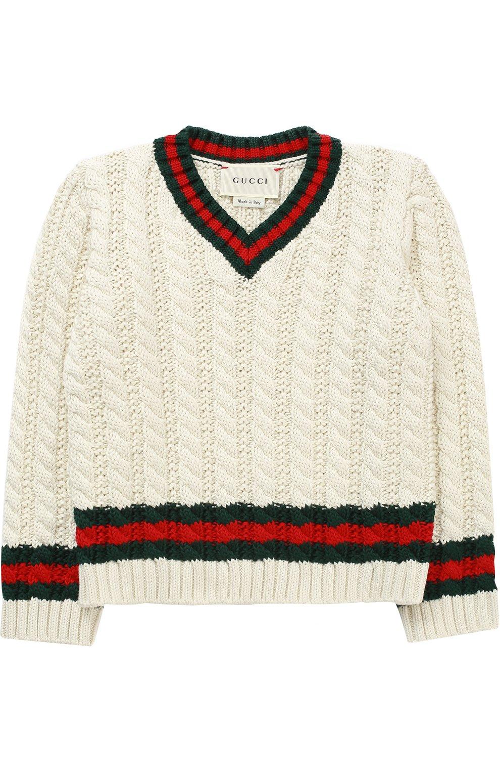 Детский хлопковый пуловер с контрастными манжетами и воротником GUCCI белого цвета, арт. 455050/X3F24   Фото 1