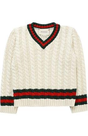 Хлопковый пуловер с контрастными манжетами и воротником | Фото №1