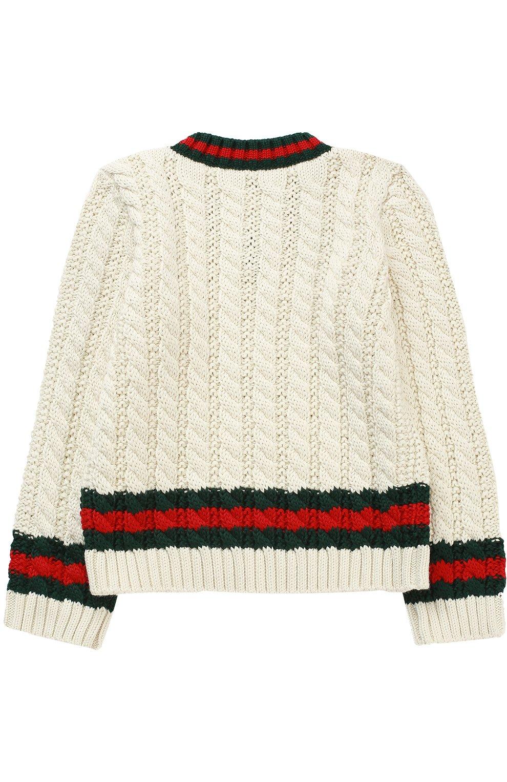 Детский хлопковый пуловер с контрастными манжетами и воротником GUCCI белого цвета, арт. 455050/X3F24   Фото 2