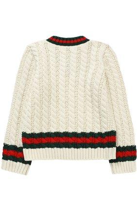 Хлопковый пуловер с контрастными манжетами и воротником | Фото №2